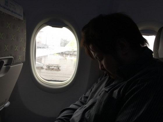 飛行機の中で