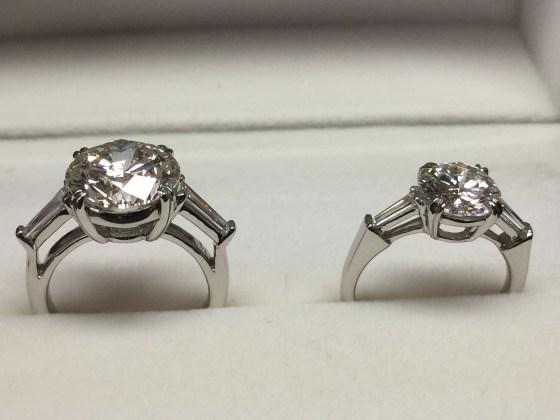 ダイヤモンドリング5カラットと2カラット ジュエルミキ